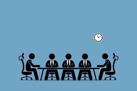 브레인 스토밍과 사업가 간의 토론. 회사의 전문 이사 및 주주와의 회의실 회의. 일러스트