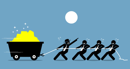 Leader working together with employees and workers to work hard with encouragement and help. Vector artwork depicts leadership and motivation.