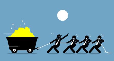 Leider samen te werken met werknemers en arbeiders om hard te werken met de aanmoediging en hulp. Vector kunstwerk schildert leiderschap en motivatie. Vector Illustratie