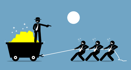 Boss forcing employees and workers to work hard by threatening them with a gun. Vector artwork depicts bossy attitude and workplace harassment.