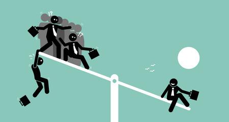 Eine einzelne Person ist schwerer als eine Gruppe von Menschen auf einer Wippe und überwiegt sie. Vector artworks zeigt das Konzept von überwiegen, Wert, Wert, Macht und Vergleich. Standard-Bild - 71258544