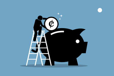 Man climbing up on a ladder and putting money into a big piggy bank. Vector artwork depicts money saving, investment, and wealth management.