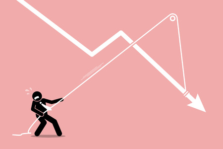 regress: Businessman pulling a falling arrow graph chart from further dropping down. Vector artwork depicts economy crisis, downturn, financial pressure, and burden.