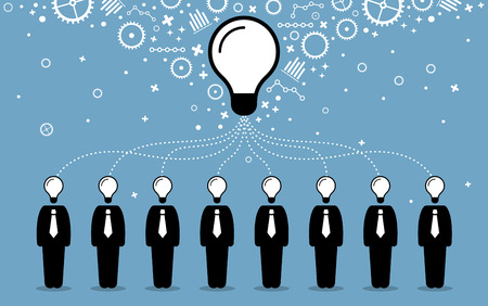 create idea: Business people combining their ideas, minds, and thoughts to create a bigger and better idea. Vector artwork depicts business cooperation, teamwork, synergy, and collaboration.