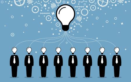 sinergia: La gente de negocios que combinan sus ideas, las mentes y pensamientos para crear una idea más grande y mejor. Ilustraciones del vector representa la cooperación empresarial, el trabajo en equipo, la sinergia y la colaboración. Vectores