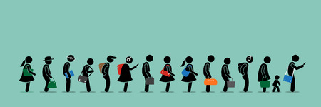 People queuing up in a long queue line. Stock Illustratie
