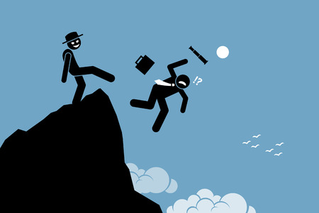Evil man kicking down his business partner from the top of the hill. Vector artworks depicts betrayal, rivalry, and competition. Illustration