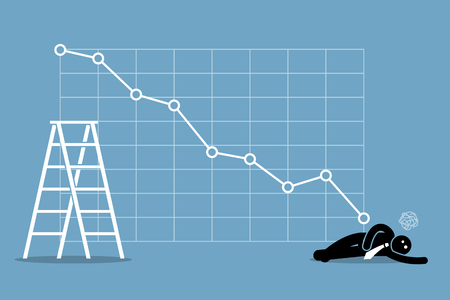 fainted: Businessman fainted on the floor as the stock market falls badly. Vector artwork depicts financial failure, bearish stock market, bad sales, business loss, and investment lost. Illustration