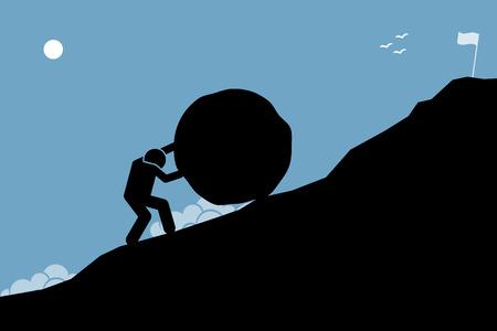 accomplishment: A strong man pushing a big rock up the hill to reach the goal on top. Artwork depicting hard work, challenge, mission, and accomplishment.