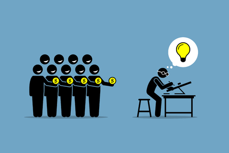 backing: Crowdfunding or crowd funding. Vector artwork depicts raising money from the people by working on a project or venture that has a good bright idea.