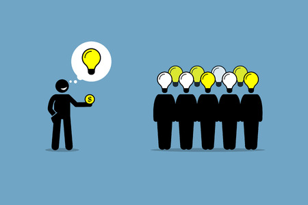 Crowdsourcing or crowd sourcing. Vector artwork depicts outsourcing and paying money to a large group of people to obtain their services and ideas. Illustration