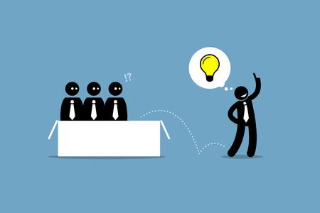 Pensar más allá. Las ilustraciones del vector representan a un hombre de negocios que salta de la caja y encontraron una buena idea.