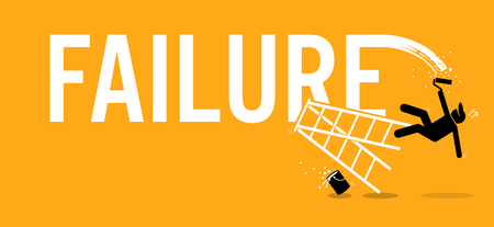 Painter painting the word failure on a wall by climbing up on a ladder but fell down miserably. Vector artworks depicts mission fail, loss, misfortune, and defeat.