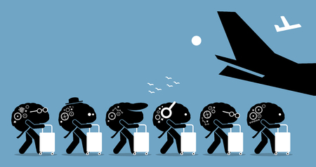 Brain drain. Vector artworks depicts emigration of highly trained and intelligent people out from a country. Ilustração