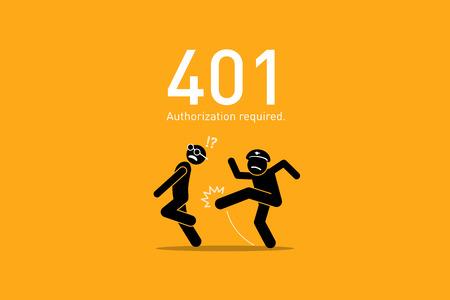 Website Error 401. Authorization Required. Illustration