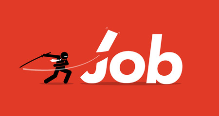 Job cut. Vector artwork depicts retrenchment, reducing manpower, company downsizing, and employee layoffs.