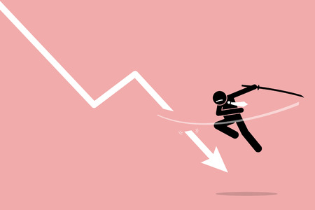 Cut loss. Vector artwork depicts stock market strategy by stopping losses. Illustration