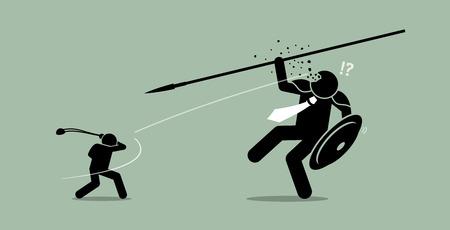 David versus Goliath. Vector artwork depicts underdog wins. Illustration