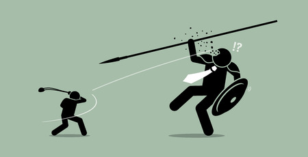 David versus Goliath. Vector artwork depicts underdog wins. Çizim