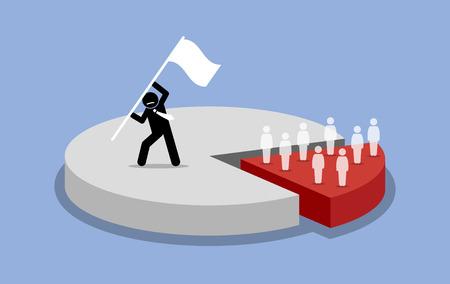 monopolio: Principio de Pareto. 80 y 20 por ciento de las reglas. Ilustraciones del vector representa la mayoría de la cuota de mercado es capturado y dominado por una sola persona, mientras que la cuota de mercado minoritario es propiedad de muchas personas.