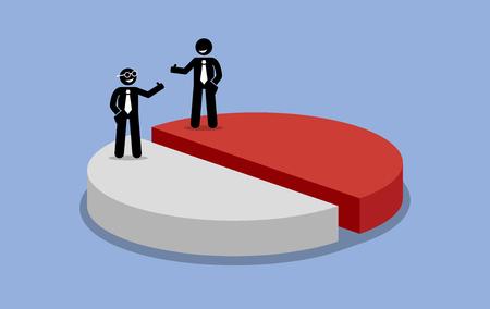 ingresos: Participación en las ganancias entre los dos accionistas o de negocios. Ilustraciones del vector representa el ingreso empresa se comparte y se divide en la mitad o 50-50 por ciento. Los socios están contentos y satisfechos. Vectores
