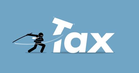 Réduction d'impôts. L'illustration vectorielle représente la réduction et l'abaissement des taxes. Banque d'images - 70983338