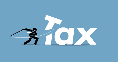 Tax cut. Vector artwork depicts reducing and lowering taxes. Çizim