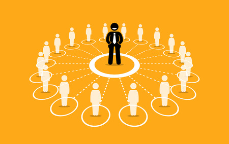 Business network and communication. Vector artwork depicts a businessman with strong network marketing, influence, and leadership.