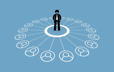 Businessman with many contacts and strong business network. Vector artwork depicts social media marketing, community network, and business relationship.