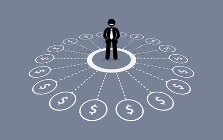 ingresos: Hombre de negocios con múltiples fuentes de ingresos financieros. Vectores