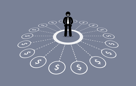 Businessman with multiple source of financial income. Illustration