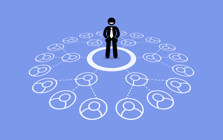 Multilevel marketing MLM. Vector artwork depicts business network, downline, referral connection, and pyramid scheme. Illustration