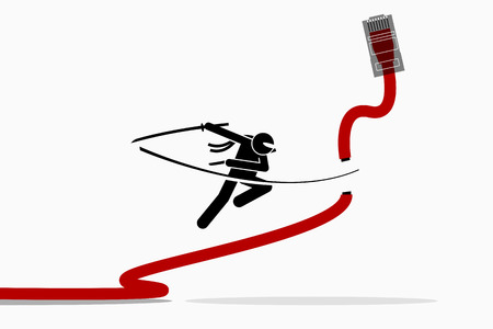 Ninja cuts Ethernet LAN network cable. Vector artwork depicts the concept of wireless Internet connection.