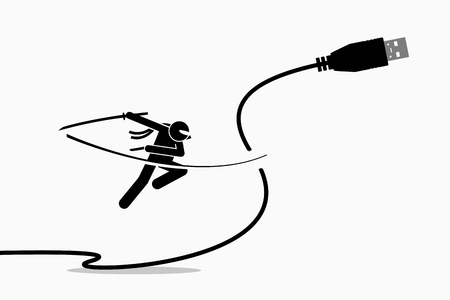 Ninja cuts USB cable plug. Vector artwork depicts the concept of wireless connection.