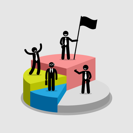 depicts: Businessman standing on top of each portion of a pie chart. Vector artwork diagram depicts profit sharing, successful partnerships, company shares ownership, and shareholders.