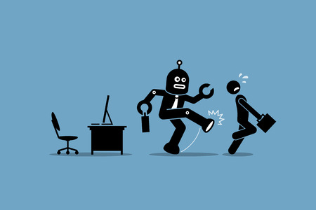 Robot employee kicks away a human worker from doing his computer job at office. Vector artwork depicts automation, future concept, artificial intelligence, and robot replacing mankind.