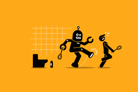 replacing: Robot cleaner kicks away a human janitor worker from doing his cleaning job at toilet. Vector artwork depicts automation, future concept, artificial intelligence, and robot replacing mankind.