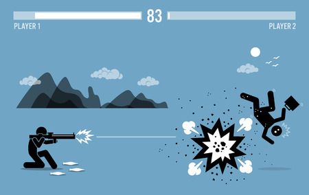 Destroying business competitor with a bazooka. Vector artwork depicts video game character fighting with health bar on top. Illustration