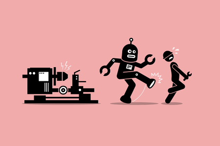 로봇 정비공 멀리 공장에서 일을에서 인간의 기술자를 걷어 차. 벡터 아트웍은 자동화, 미래 개념, 인공 지능 및 로봇을 대체하는 인류를 묘사합니다. 일러스트
