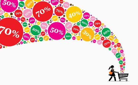 Fille poussant le panier à la journée de vente. Les illustrations vectorielles représentent des rabais, des ventes, des promotions, des offres et des offres.