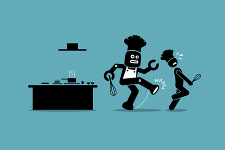 replacing: Robot chef kicks away a human chef from doing his job at kitchen. Vector artwork depicts automation, future concept, artificial intelligence, and robot replacing mankind.