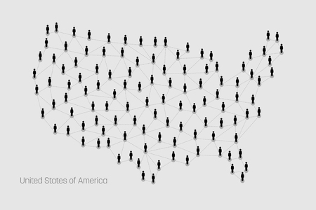 populous: USA Map. map depicts people connecting through a large Internet web line and dots forming the shape of United States of America. Illustration