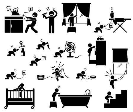 Safety hazard at home for children. Potential risks and dangerous hazard inside house that can cause serious accident, injury, and harm to baby and toddler. Illustration designed in stick figures. Vettoriali