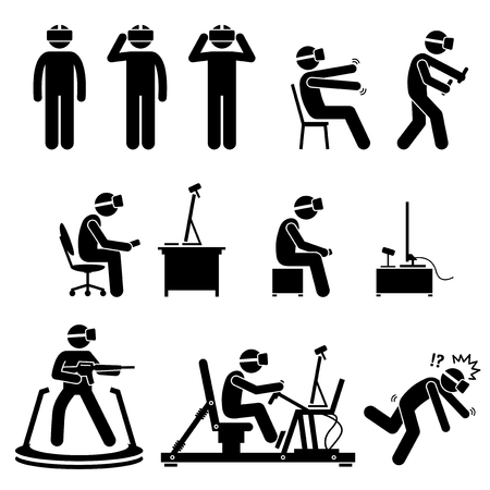 Virtual reality headsets and gaming equipment. Man wears virtual reality goggles to play game. Peripherals controller, gun, camera, sensor, and a driving simulator. Illustrations in stick figures.