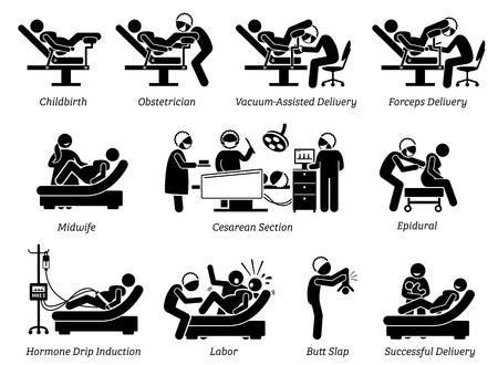 Childbirth at hospital. Ways to deliver baby at hospital by doctor or obstetrician. Methods are natural childbirth, vacuum assisted, forceps, and Cesarean. Illustration in stick figures pictogram. Stock Illustratie