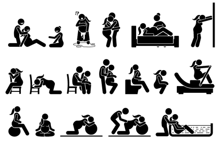Childbirth labor positions and postures at home. Natural birthing class that include yoga, exercise, meditation, and water birth technique. Illustrations in stick figures pictogram. Иллюстрация