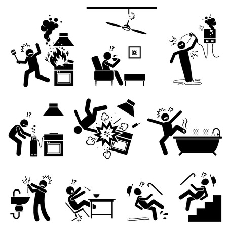 dangers: Safety hazard at home. Dangerous appliances and potential risks inside the house. Accident, mishap, and injuries at kitchen, bathroom, and other places in the house. Illustration in stick figures.