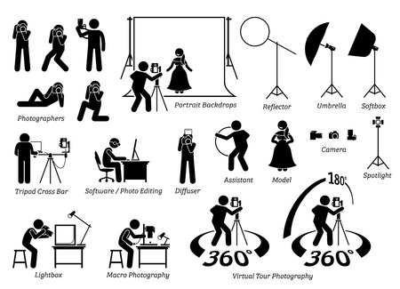 setup man: Indoor photographer photography shooting. Cameraman taking photograph in studio with various equipment, gears, and tools. This includes virtual tour photography that captures 360 degree photograph. Illustration