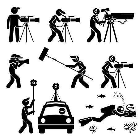Vidéaste, cinéaste, cinéaste et caméraman. Tournage de séquences vidéo et production de films avec une grande caméra vidéo coûteuse. Les engins comprennent une caméra à 360 degrés, une voiture et des accessoires sous-marins.