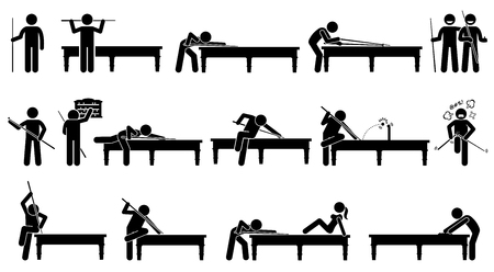 arranging: Professional snooker player playing on the table. Artworks depicts the positions and postures of playing snooker.